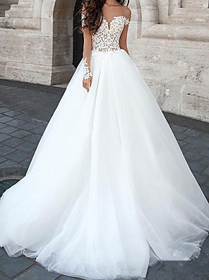 cheap Wedding Dresses-Ball Gown Wedding Dresses Sweetheart Neckline Court Train Lace Tulle Sleeveless Country with Appliques 2020