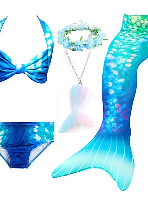 cheap Girls' Swimwear-Girls Swimsuits Mermaid for Swimming Mermaid Costume Bikini Set for Big Girls Birthday Gift 3-14 Years