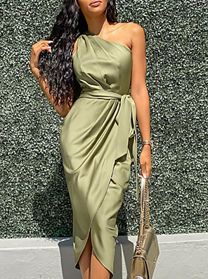 cheap Party Dresses-Women's Wrap Dress Midi Dress - Sleeveless One Shoulder Sexy Cocktail Party Slim 2020 Army Green S M L XL