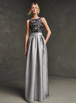 cheap Evening Dresses-A-Line Elegant Beautiful Back Wedding Guest Formal Evening Dress Boat Neck Sleeveless Floor Length Satin with Sash / Ribbon Lace Insert 2020