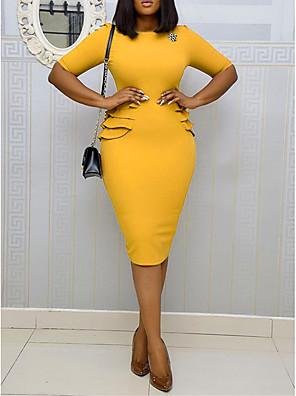 cheap Homecoming Dresses-Women's Sheath Dress Knee Length Dress - Short Sleeve Solid Color Ruffle Summer Sexy Daily Vacation Slim 2020 Blue Yellow Blushing Pink Brown S M L XL XXL XXXL