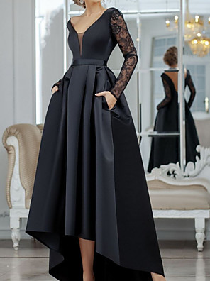 cheap Evening Dresses-A-Line Minimalist Sexy Wedding Guest Formal Evening Dress V Neck Long Sleeve Asymmetrical Lace Satin with Pleats Lace Insert 2020
