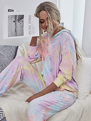 cheap Oversize Sweater-Women's Basic Hoodie Set Loose Tie Dye Patchwork Print Pant Hooded