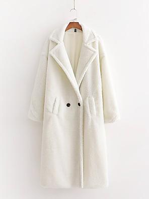 abordables Manteaux en Laine et Mélange de Laine pour Femme-Femme Manteau Longue Couleur Pleine Quotidien Hiver Blanche S / M / L