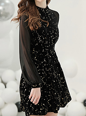 cheap Evening Dresses-A-Line Elegant Little Black Dress Party Wear Cocktail Party Dress Jewel Neck Long Sleeve Short / Mini Jersey with Pattern / Print 2020
