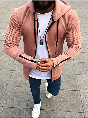cheap Men's Sweaters & Cardigans-Men's Plus Size Daily Hoodie Solid Colored Hooded Casual Hoodies Sweatshirts  Black Blushing Pink Army Green