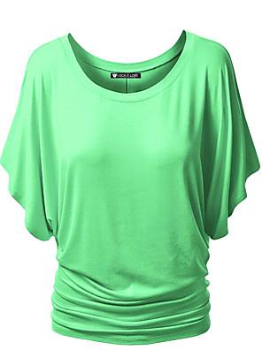 Недорогие Женские футболки-Жен. Рубашка Сплошной цвет Круглый вырез Верхушки Классический Лето Винный Черный Лиловый / Хлопок