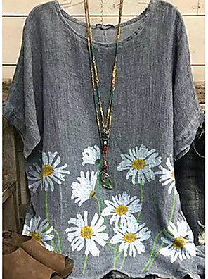 cheap Women's Blouses & Shirts-Women's Going out Plus Size Tunic Daisy Print Round Neck Tops Basic Basic Top Gray