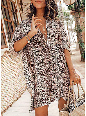 cheap Mini Dresses-Women's Shirt Dress Short Mini Dress - Long Sleeve Print Print Summer Shirt Collar Casual Daily Loose 2020 Khaki S M L XL XXL
