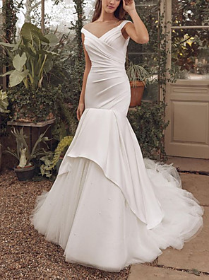 cheap Evening Dresses-Mermaid / Trumpet Wedding Dresses V Neck Sweep / Brush Train Satin Tulle Sleeveless Simple with Ruched 2020