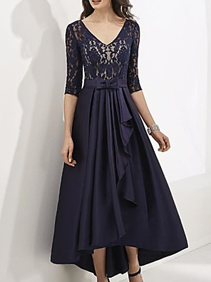 cheap Mother of the Bride Dresses-A-Line Mother of the Bride Dress Elegant V Neck Floor Length Lace Satin Half Sleeve with Sash / Ribbon Bow(s) Pleats 2020