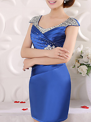 cheap Cocktail Dresses-Sheath / Column Elegant Glittering Wedding Guest Cocktail Party Dress V Neck Short Sleeve Knee Length Satin with Ruched Crystals Beading 2020