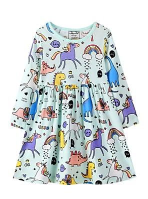 povoljno Majice s kapuljačama i trenirke za djevojčice-Djeca Djevojčice slatko Dinosaur Geometrijski oblici Print Dugih rukava Iznad koljena Haljina Duga