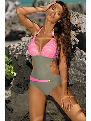 cheap Bikinis-Women's Halter Sexy One-piece Swimsuit Backless Cut Out Color Block Plunging Neck Swimwear Bathing Suits Blue Yellow Blushing Pink Green / Padded Bras