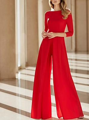 cheap Evening Dresses-Jumpsuits Mother of the Bride Dress Elegant Jewel Neck Floor Length Chiffon 3/4 Length Sleeve with Sash / Ribbon 2020