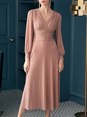 cheap Evening Dresses-A-Line Elegant Minimalist Engagement Prom Dress V Neck Long Sleeve Ankle Length Chiffon with Pleats Ruched 2020