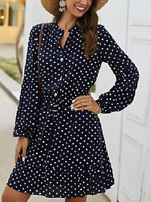 Χαμηλού Κόστους Μίνι Φορέματα-Γυναικεία Φορέματα σιφόν Φόρεμα μέχρι το γόνατο - Μακρυμάνικο Πουά Άνοιξη Φθινόπωρο Καθημερινό Διακοπές 2020 Λευκό Ρουμπίνι Dusty Blue Τ M L XL