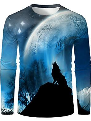 povoljno Majice s kapuljačama i trenirke za djevojčice-Muškarci Majica s rukavima Grafika Print Dugih rukava Tops Osnovni Okrugli izrez Plava