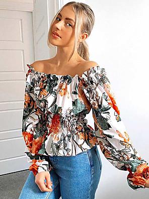 cheap Women's Blouses & Shirts-Women's Blouse Floral Print Square Neck Tops Streetwear Spring Summer White