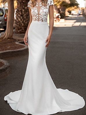 cheap Wedding Dresses-Mermaid / Trumpet Wedding Dresses Jewel Neck Court Train Lace Satin Sleeveless Country with Appliques 2020