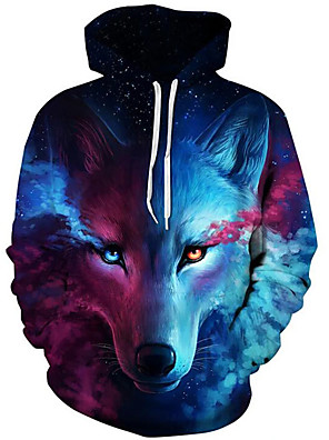 cheap Boys' Tops-Men's Daily Hoodie Sweatshirt Pullover Sweatshirt 3D Print Fox Modern Style Hooded Active Hoodies Sweatshirts  Long Sleeve Blue / Fall / Winter