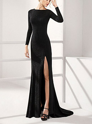 cheap Evening Dresses-Sheath / Column Mother of the Bride Dress Elegant Jewel Neck Sweep / Brush Train Sequined Long Sleeve with Split Front 2020