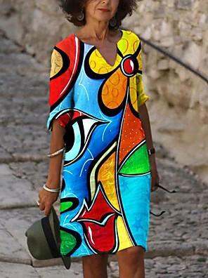 cheap Evening Dresses-Women's Shift Dress Knee Length Dress - Long Sleeve Print Print Fall V Neck Vintage Sexy Holiday Going out Loose 2020 Blue S M L XL XXL XXXL XXXXL XXXXXL