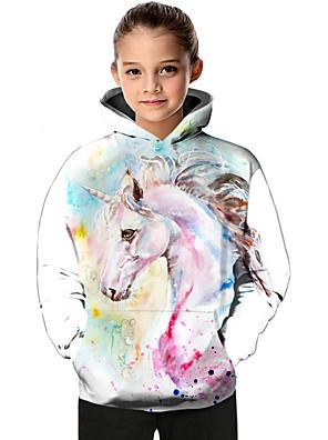 cheap Boys' Tops-Kids Toddler Girls' Active Basic Fantastic Beasts Unicorn Geometric Color Block Animal Print Long Sleeve Hoodie & Sweatshirt White