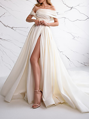 cheap Wedding Dresses-A-Line Wedding Dresses Off Shoulder Sweep / Brush Train Satin Sleeveless Simple with Ruched Split Front 2020