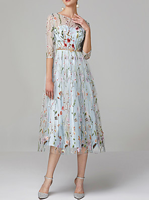 cheap Prom Dresses-A-Line Floral Blue Engagement Prom Dress Jewel Neck Half Sleeve Tea Length Lace Tulle with Embroidery Appliques 2020