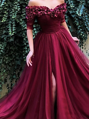 cheap Evening Dresses-A-Line Floral Luxurious Engagement Formal Evening Dress Off Shoulder Half Sleeve Sweep / Brush Train Satin Tulle with Pleats Appliques 2020