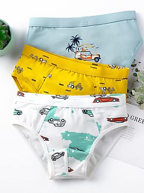 cheap Boys' Clothing Sets-3 Pieces Kids Boys' Basic Print Underwear & Socks White