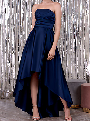cheap Evening Dresses-A-Line Elegant Minimalist Wedding Guest Formal Evening Dress Strapless Sleeveless Asymmetrical Satin with Ruched 2020