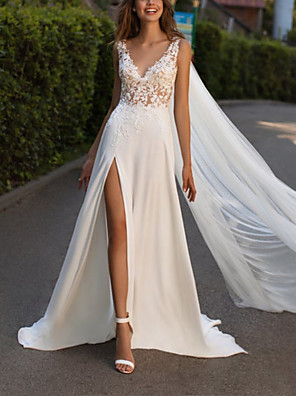 cheap Wedding Dresses-A-Line Wedding Dresses V Neck Sweep / Brush Train Chiffon Lace Sleeveless Beach with Split Front 2020