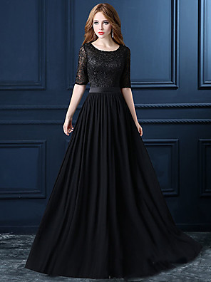 cheap Prom Dresses-A-Line Elegant Cut Out Wedding Guest Formal Evening Dress Jewel Neck Half Sleeve Floor Length Lace with Sash / Ribbon Embroidery 2020