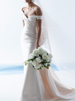 cheap Wedding Dresses-Sheath / Column Wedding Dresses Off Shoulder Court Train Satin Sleeveless Simple with Ruched 2020