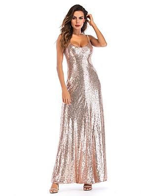 cheap Maxi Dresses-Women's A-Line Dress Maxi long Dress - Sleeveless Solid Color Backless Sequins Embroidered Summer Sexy Party Club 2020 Gold S M L XL XXL