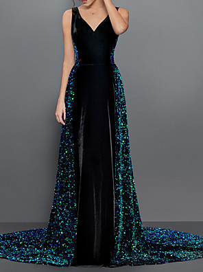 cheap Evening Dresses-A-Line Sexy Sparkle Engagement Formal Evening Dress V Neck Sleeveless Chapel Train Sequined Velvet with Pleats Sequin 2020