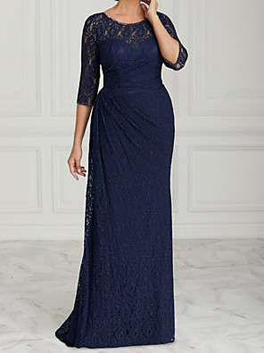 cheap Evening Dresses-Sheath / Column Mother of the Bride Dress Elegant Jewel Neck Sweep / Brush Train Lace Half Sleeve with Lace 2020