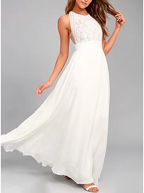 cheap Evening Dresses-A-Line Elegant Wedding Guest Prom Formal Evening Dress Jewel Neck Sleeveless Floor Length Chiffon Lace with Pleats 2020