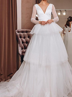 cheap Prom Dresses-A-Line Wedding Dresses V Neck Court Train Tulle Long Sleeve Country Simple with Bow(s) Cascading Ruffles 2020