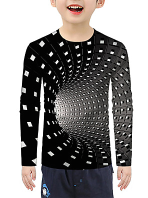 cheap Boys' Tops-Kids Boys' Active Basic 3D Print Long Sleeve Blouse Black