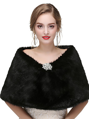cheap iPad case-Sleeveless Shawls Faux Fur Wedding / Party / Evening Women's Wrap With Solid / Crystal Floral Pin