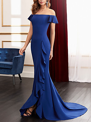cheap Evening Dresses-Sheath / Column Mother of the Bride Dress Elegant Off Shoulder Sweep / Brush Train Satin Sleeveless with Ruffles Split Front 2020