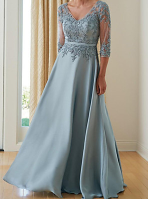 cheap Mother of the Bride Dresses-A-Line Mother of the Bride Dress Elegant V Neck Floor Length Chiffon Lace Half Sleeve with Pleats Appliques 2020