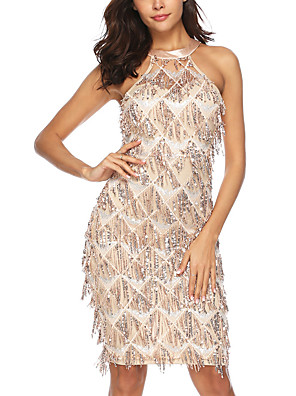 cheap Maxi Dresses-Women's A-Line Dress Knee Length Dress - Sleeveless Solid Color Backless Sequins Embroidered Summer Sexy Party Going out 2020 Gold S M L XL XXL