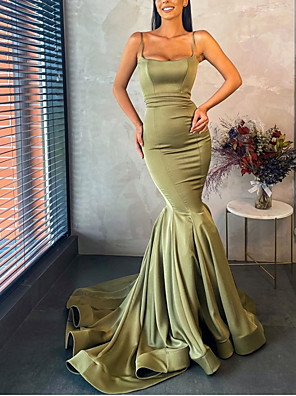 cheap Evening Dresses-Mermaid / Trumpet Minimalist Sexy Wedding Guest Formal Evening Dress Spaghetti Strap Sleeveless Court Train Stretch Satin with Pleats 2020