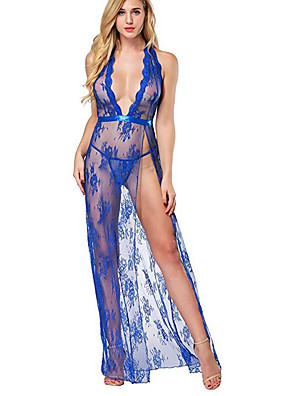 cheap Sexy Bodies-Women's Lace Backless Mesh Babydoll & Slips Suits Nightwear Jacquard Solid Colored Embroidered White / Black / Red S M L