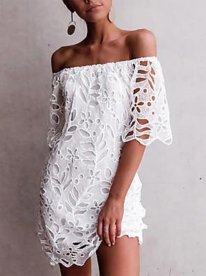 Χαμηλού Κόστους Μακριά Φορέματα-Γυναικεία Φόρεμα σε γραμμή Α Φόρεμα μέχρι το γόνατο - Αμάνικο Συμπαγές Χρώμα Δαντέλα Κεντητό Καλοκαίρι Ώμοι Έξω Σέξι Καθημερινά Λεπτό 2020 Λευκό Μαύρο Κρασί Σκούρο μπλε Τ M L XL