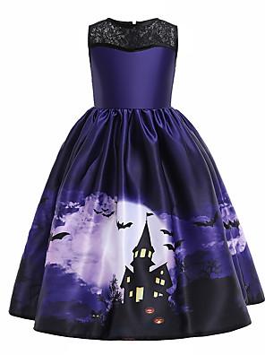 povoljno Haljine za djevojčice-Djeca Djevojčice Vintage slatko Halloween Print Bez rukávů Midi Haljina purpurna boja